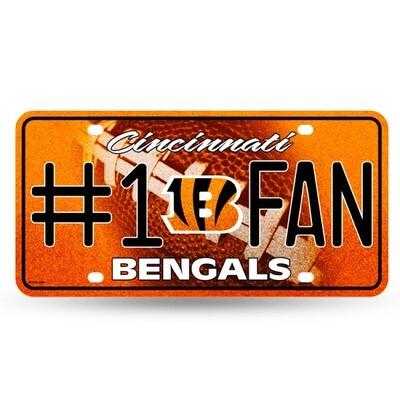 Cincinnati Bengals NFL #1 Fan Glitter License Plate