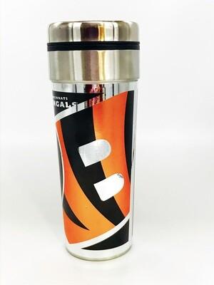 Cincinnati Bengals NFL 22 oz Big Slim Coffee Travel Tumbler Metallic Hi Def Graphics
