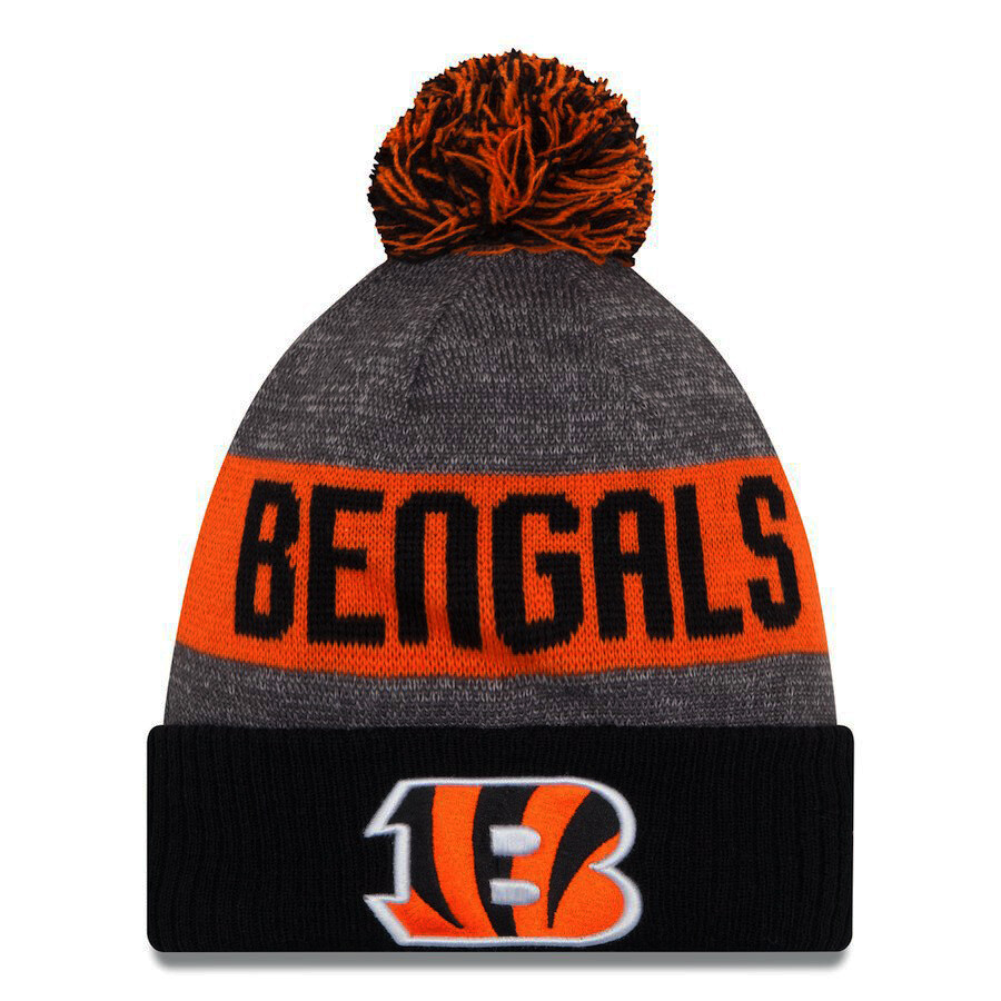 Cincinnati Bengals B Logo Bengals Striped NFL New Era Pom Beanie