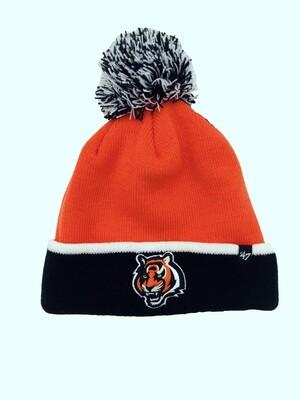 Cincinnati Bengals Tiger Logo NFL 47 Brand Striped Pom Beanie