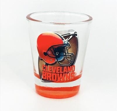 Cleveland Browns Helmet & Football NFL Orange Highlight Bottom Shot Glass