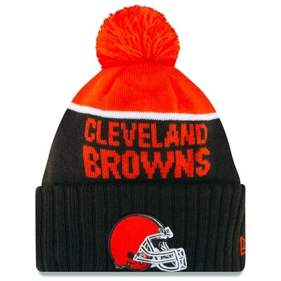 Cleveland Browns Helmet Logo Cleveland Browns Striped NFL New Era Pom Beanie
