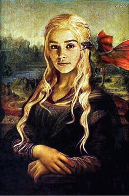 Daenerys Targaryen with Dragon Game of Thrones Mona Lisa Painting Style Limited Edition Poster