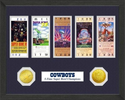 Dallas Cowboys NFL Super Bowl Championship Ticket Collection Wall Frame