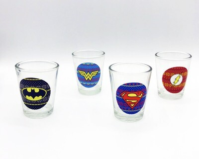 DC Comics Holiday Logos Glassware Set of 4 Shot Glasses