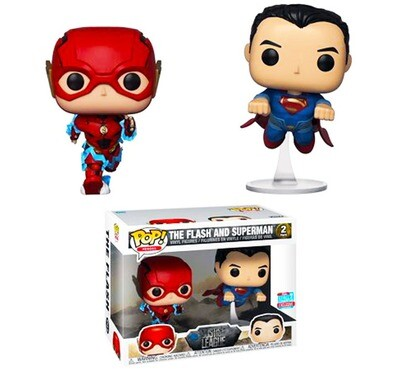 The Flash and Superman (Racing) Justice League DC Funko Pop Heroes 2-Pack Fall Convention Exclusive Limited Edition