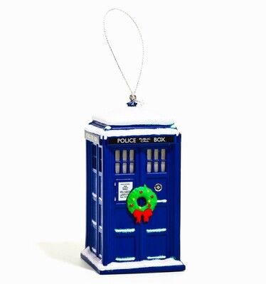 Tardis Snowy Wreath Doctor Who BBC Kurt Adler Christmas Tree Holiday Ornament