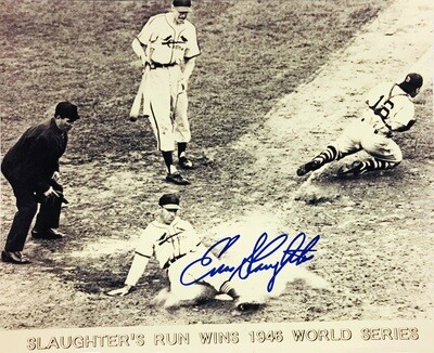 Enos Slaughter's Run Wins 1946 World Series St. Louis Cardinals MLB Autographed 8x10 Photo (w/ Certificate of Authenticity)