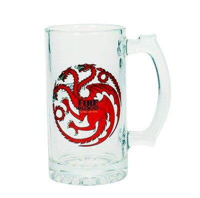 Fire and Blood Targaryen Dragon Sigil Game of Thrones Glass Stein