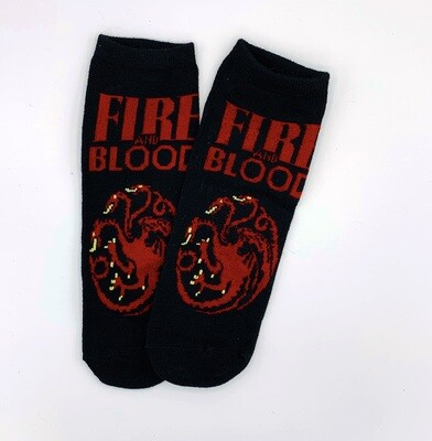 Fire and Blood House Targaryen Dragon Sigil Game of Thrones No-Show Ankle Socks