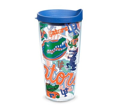 Florida Gators NCAA 24 oz Tervis Tumbler All Over Wrap with Blue Travel Lid