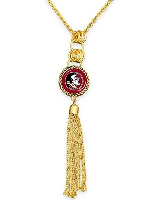 Florida State Seminoles NCAA From the Heart Team Logo Disc Charm Pendant Tassel Necklace