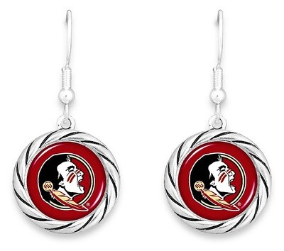 Florida State Seminoles NCAA From the Heart Team Logo Disk Charm Earrings