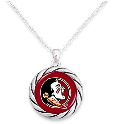 Florida State Seminoles NCAA From the Heart Team Logo Disk Pendant Necklace