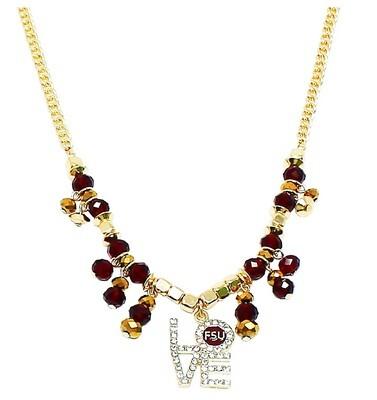 Florida State Seminoles NCAA FSU LOVE Rhinestone Pendant Garnet and Gold Beaded Necklace
