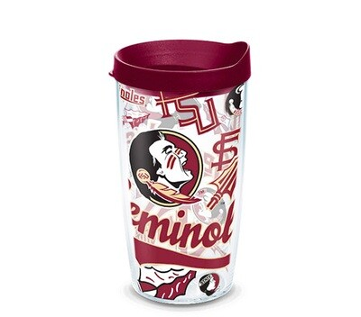 Florida State Seminoles NCAA 16 oz Tervis Tumbler All Over Wrap with Garnet Travel Lid