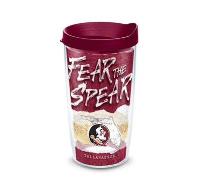 Florida State Seminoles NCAA 16 oz Tervis Tumbler College Statement Wrap with Garnet Travel Lid