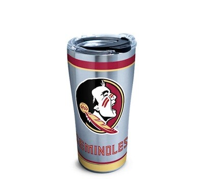 Florida State Seminoles NCAA 20 oz Stainless Steel Tervis Tumbler Tradition Wrap with Black Hammer Lid