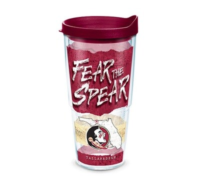 Florida State Seminoles NCAA 24 oz Tervis Tumbler College Statement Wrap with Garnet Travel Lid