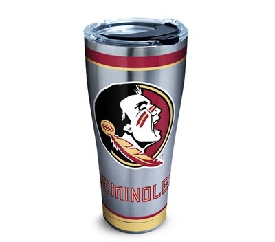 Florida State Seminoles NCAA 30 oz Stainless Steel Tervis Tumbler Tradition Wrap with Black Hammer Lid