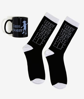 Free Dobby Mug and Dobby is Free Socks Harry Potter Collector Pack Mug and Sock Set