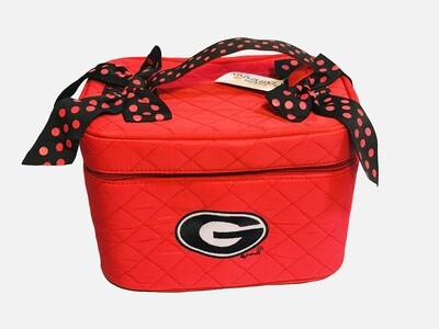 Georgia Bulldogs NCAA Lunchbox Shaped Red Polka Dot Ribbon and Plaid Quilted Purse with Mirror