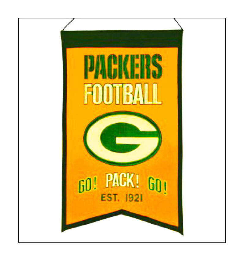 Go Pack Go Green Bay Packers Football NFL Traditions Slogan Felt Wall Banner