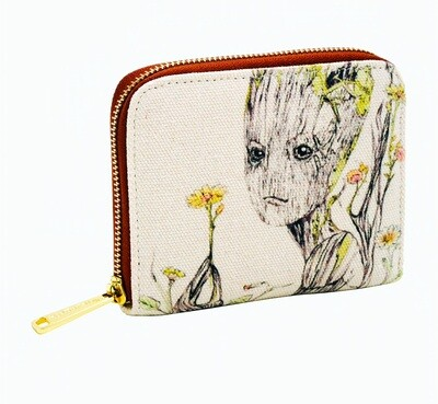 Groot Floral Guardians of the Galaxy Marvel Loungefly Canvas Wallet