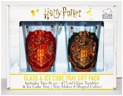 Hogwarts Crest Harry Potter 2-piece Pint Glass Tumbler Set with Ice Cube Tray