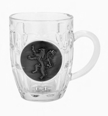 House Lannister Lion Sigil Game of Thrones Crystal Glass Stein with 3D Pewter Emblem