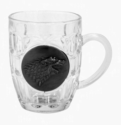 House Stark Direwolf Sigil Game of Thrones Crystal Glass Stein with 3D Pewter Emblem