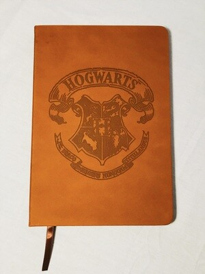 Hogwarts Crest Harry Potter Brown Faux-Leather Blank Pages Notebook