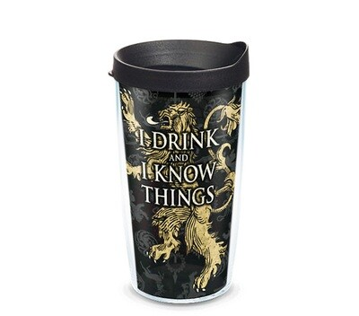 I Drink and I Know Things Game of Thrones 16 oz Tervis Tumbler House Sigils Lannister Wrap with Black Travel Lid