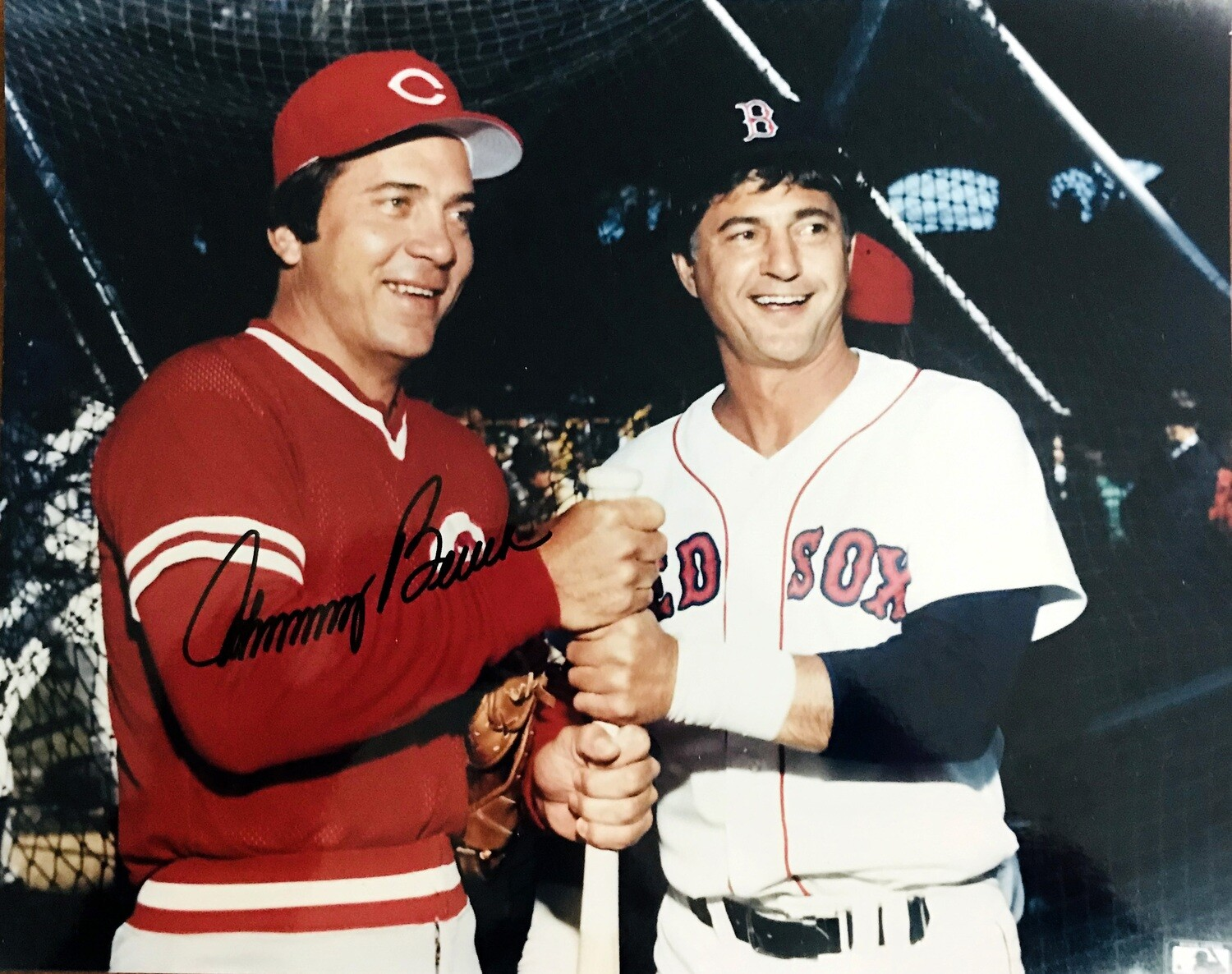 Johnny Bench & Carl Yastrzemski Cincinnati Reds Boston Red Sox MLB 8x10 Photo with Johnny Bench Autograph