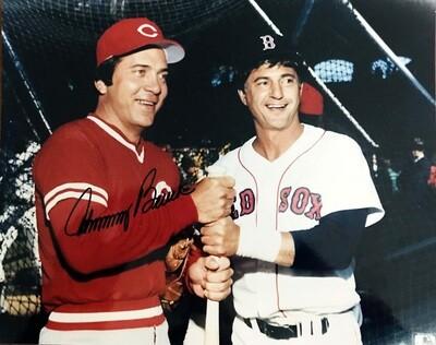 Johnny Bench & Carl Yastrzemski Cincinnati Reds Boston Red Sox MLB 8x10 Photo with Johnny Bench Autograph