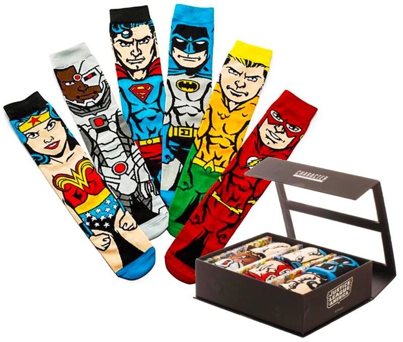 Justice League DC Comics 6-Pack Crew Socks Box Set