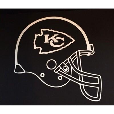 "Kansas City Chiefs White Helmet NFL 4x4"" Laser Cut Decal Sticker"