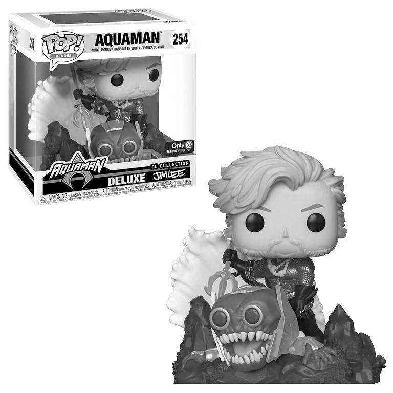 Aquaman (Black & White) Jim Lee DC Collection Funko Pop Heroes Deluxe 254 Gamestop Exclusive