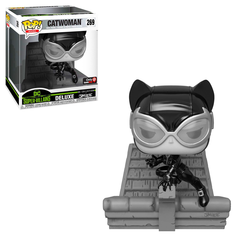 Catwoman (Black & White) Jim Lee DC Super-Villains Collection Funko Pop Heroes Deluxe 269 Gamestop Exclusive