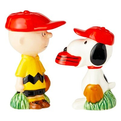 Charlie Brown & Snoopy Peanuts Baseball Salt & Pepper Shakers