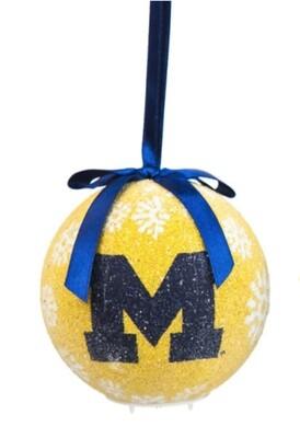 Michigan Wolverines LED Light-up Ball NCAA Christmas Tree Holiday Ornament (Yellow)