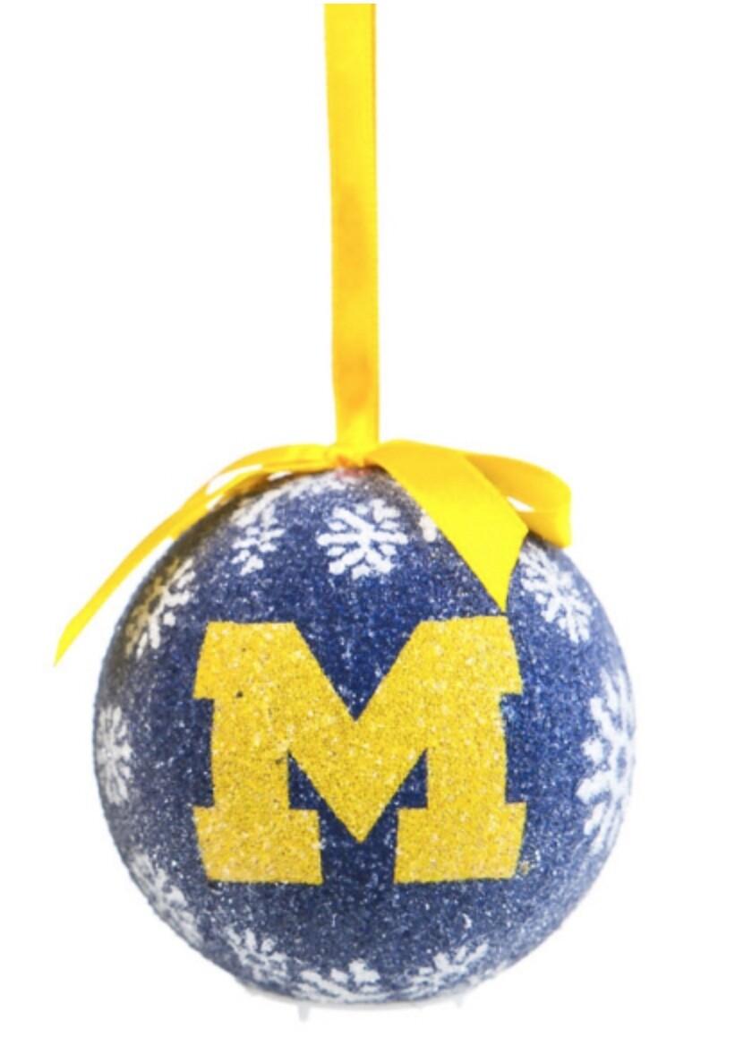 Michigan Wolverines LED Light-up Ball NCAA Christmas Tree Holiday Ornament (Blue)