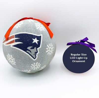 New England Patriots 6-inch LED Light-up Ball NFL Christmas Tree Holiday Ornament (Silver)
