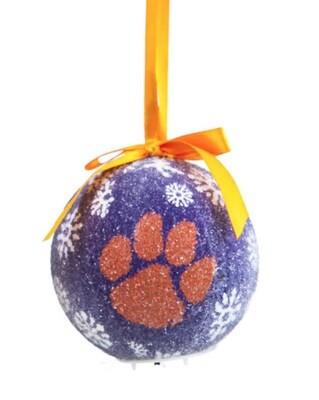 Clemson Tigers LED Light-up Ball NCAA Christmas Tree Holiday Ornament (Purple)