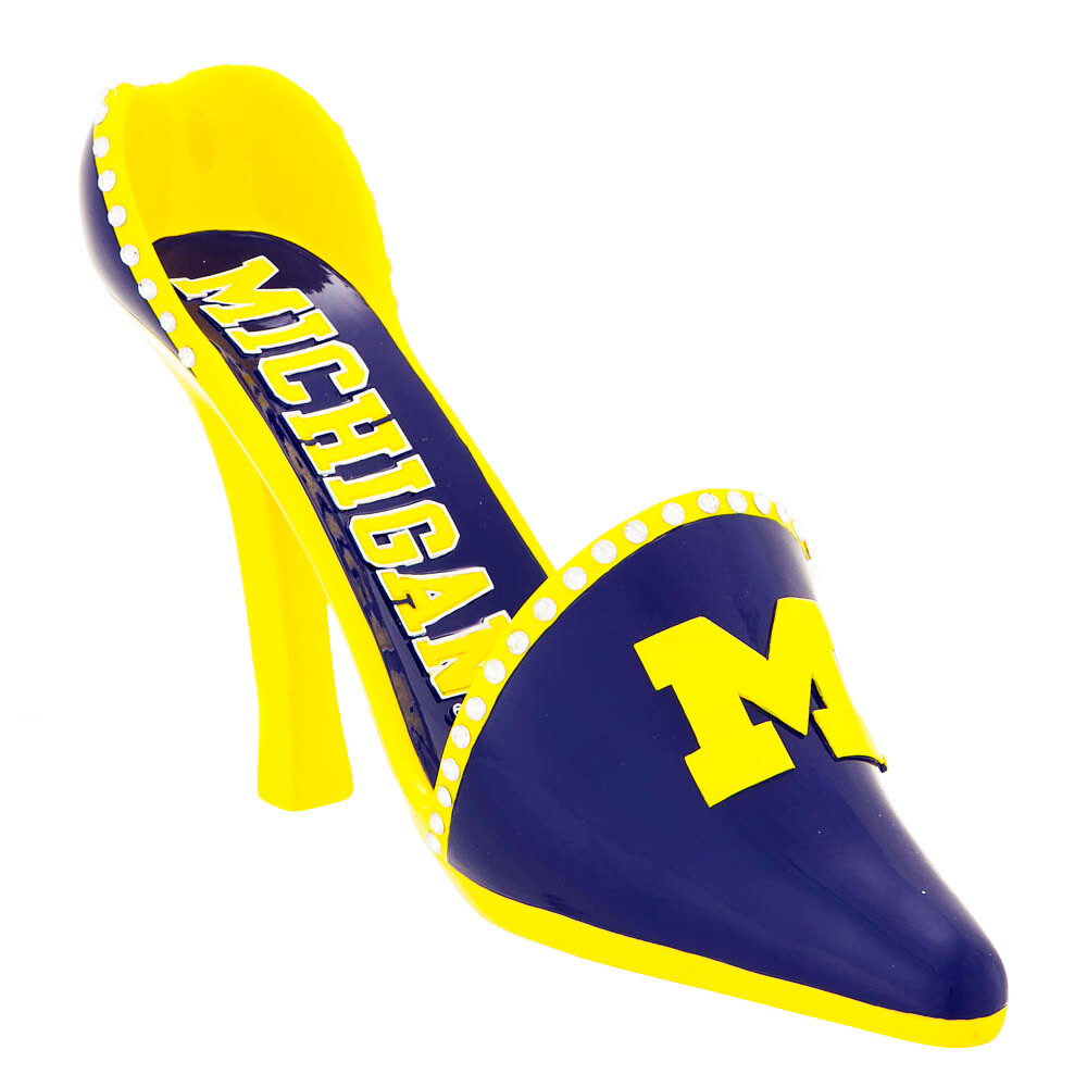 Michigan Wolverines Decorative High Heel Shoe Wine Bottle Holder