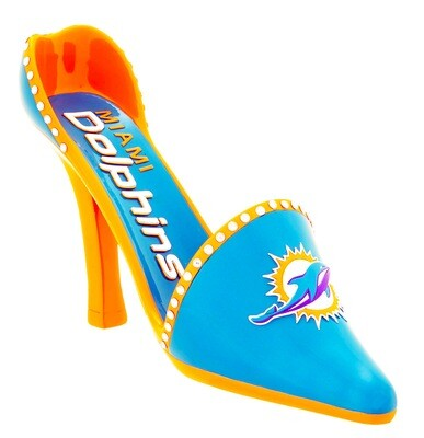 Miami Dolphins Decorative High Heel Shoe Wine Bottle Holder (PRE-ORDER)