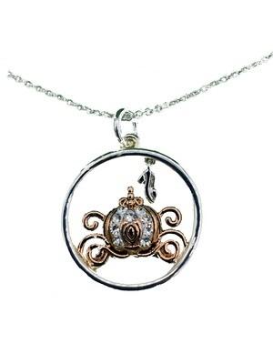 Dream a Little Wish Cinderella Disney Pure Silver over Brass 18-inch Cable Pendant Necklace