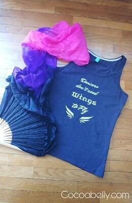 Dancers Wings Ladies Tank Top (Grey Dance T- Shirt)