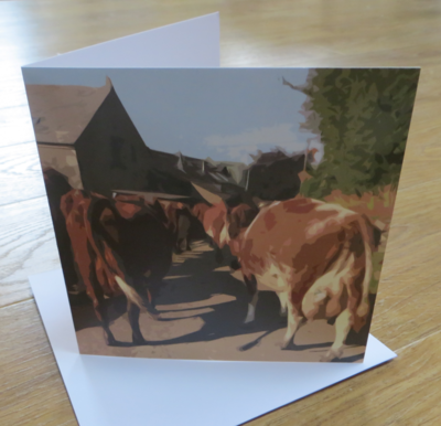 'Coming in for Milking' Blank Greetings Card
