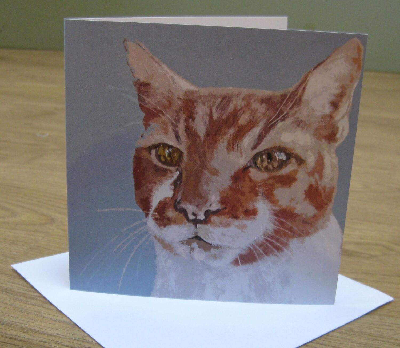 'Charlie Cat' Blank Greetings Card